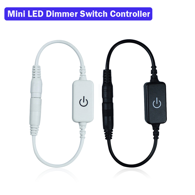 Mini LED Dimmer Switch Controller Touch DC 12-24V For 5050 3528 Single Color Led Strip Light Adjust Brightness Black White