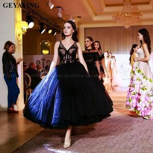 Image 3 - Vintage Lace 1950s Black Ball Gown Prom Dresses 2021 Sexy V Neck Illusion Puffy Tulle Tea Length Evening Gowns Girls Party Dress