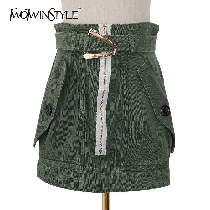 TWOTWINSTYLE Casual Green Women's Skirts High Waist With Sashes Pocket Zipper Mini A Line Female Skirt 2020 Spring Fashion New