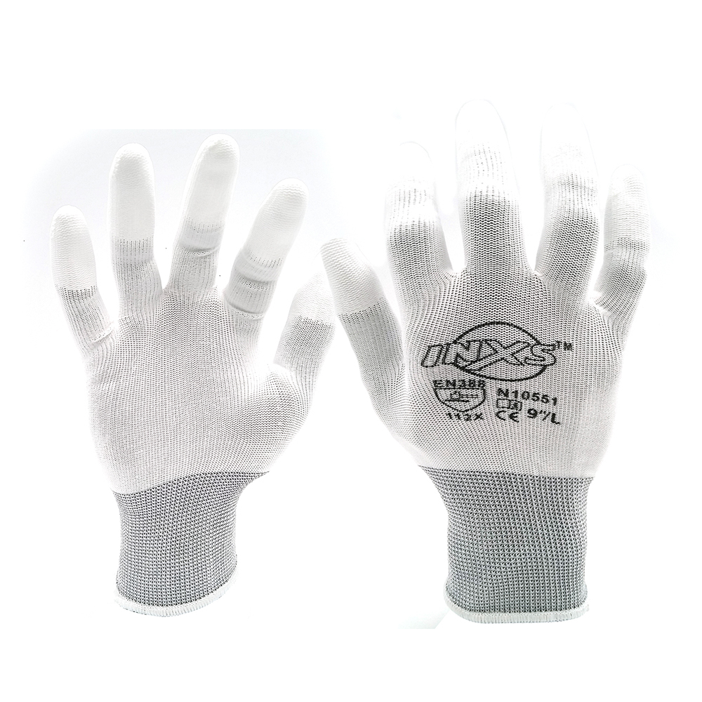 1pair Antistatic Gloves Anti Static ESD Electronic Working Gloves Pu Coated Palm Coated Finger PC Antiskid For Finger Protection