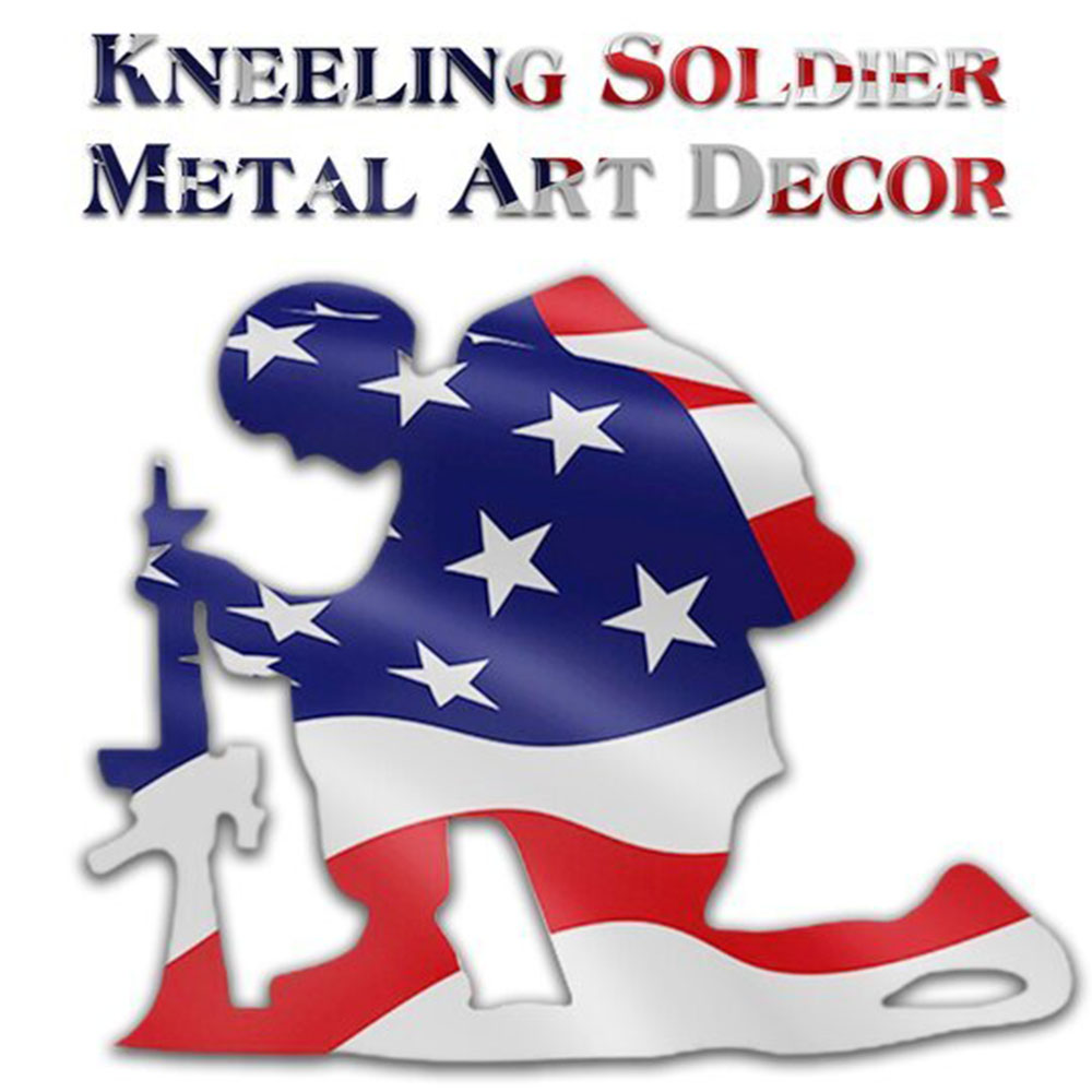 Kneeling Soldier Weathered Flag Metal Art Garden Accessory Home Decoration Yard Decor Art Ornament Outdoor