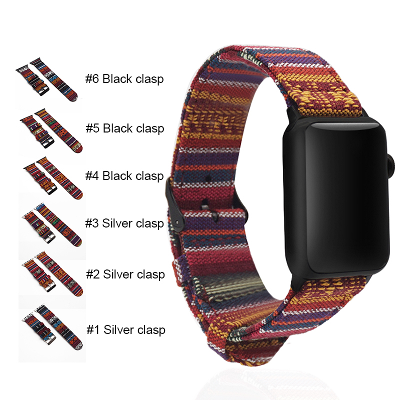 Women Unisex Fabric Woven Strap Nylon Watch Band For Apple Watch Band 38mm 42mm For iWatch series 5 4 3 2 1 image
