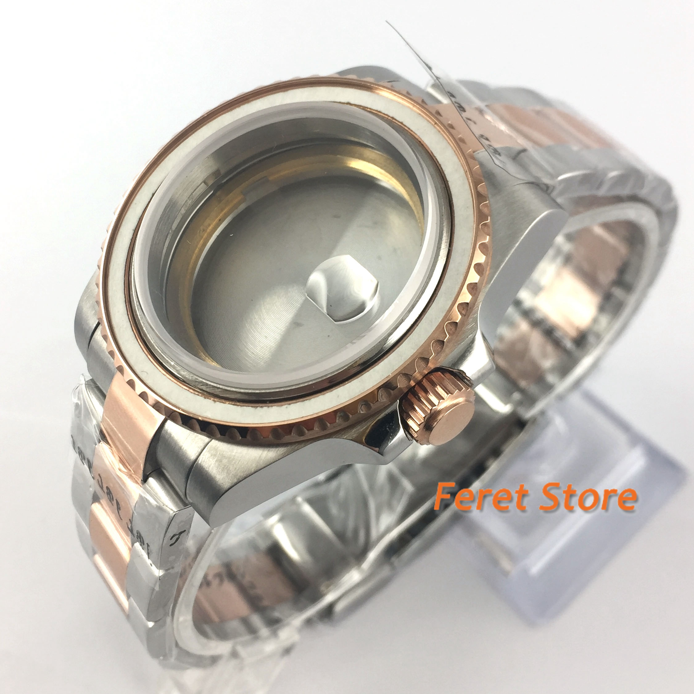 40mm sapphire glass Watch Case date with steel-golden strap fit ETA 2836/Miyota8215/8205 automatic movements | Repair Tools & Kits