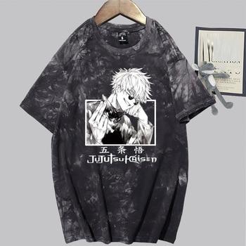 Jujutsu Kaisen Satoru Gojo T-shirt Fashion Short Sleeve O-neck Casual Tie Dye 1