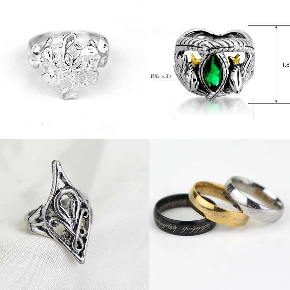Aragorn's-Ring Jewelry-Accessories Barahir Silver Green-Alloy Antique Men Fashion Women