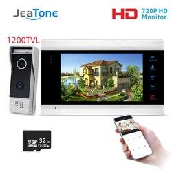 Jeatone 7 pulgadas Monitor vídeo intercomunicadores sistema de seguridad del hogar Video timbre puerta teléfono Cámara, Multi-idioma, soporte control remoto
