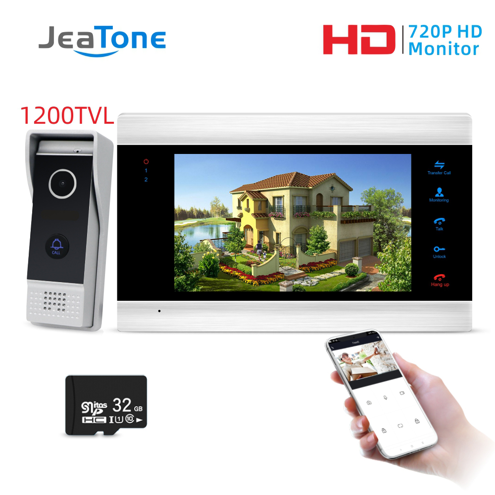 Jeatone 7inch Monitor Video Intercoms Home Security System Video Doorbell Door Phone Cam, Multi-language, Support Remote Control