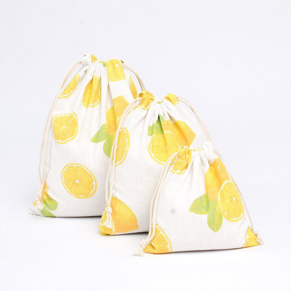 Cartoon Fruits Printed Storage Bags Baby Clothing Kids Toys Organizer Drawstring Candy Bags Cotton Linen Jewelry Cosmetic Pouch