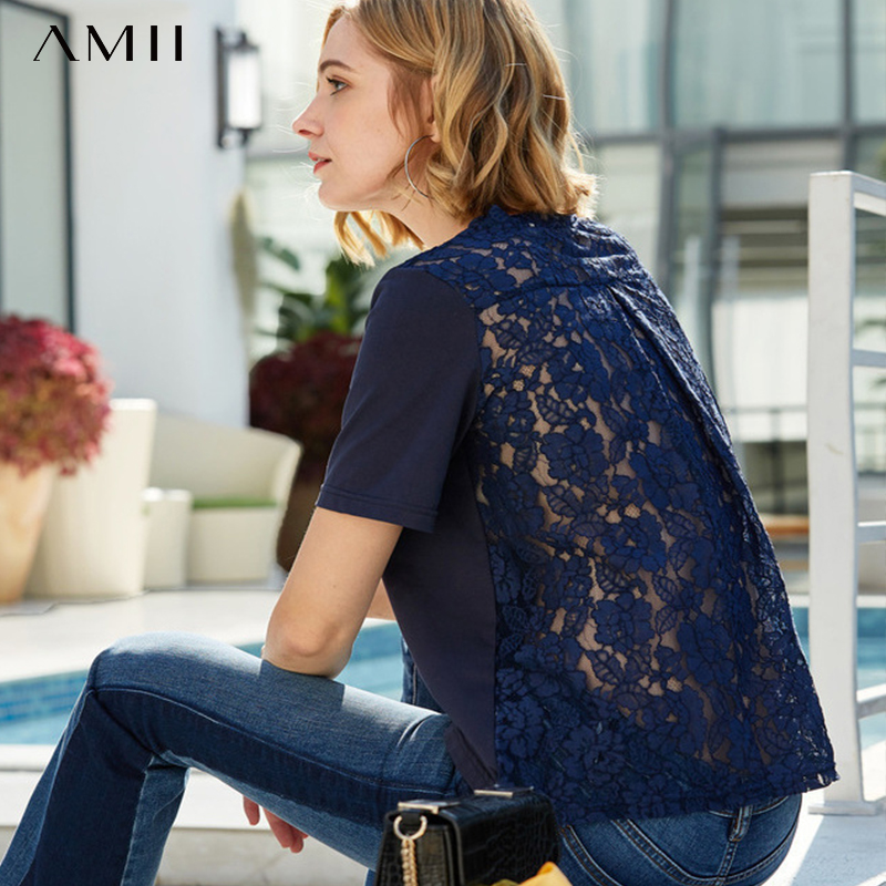 Amii Minimalist Patchwork Lace T-shirt Summer Women Cotton Short Sleeve Round Neck Loose Female Cotton Tee Tops 11930047