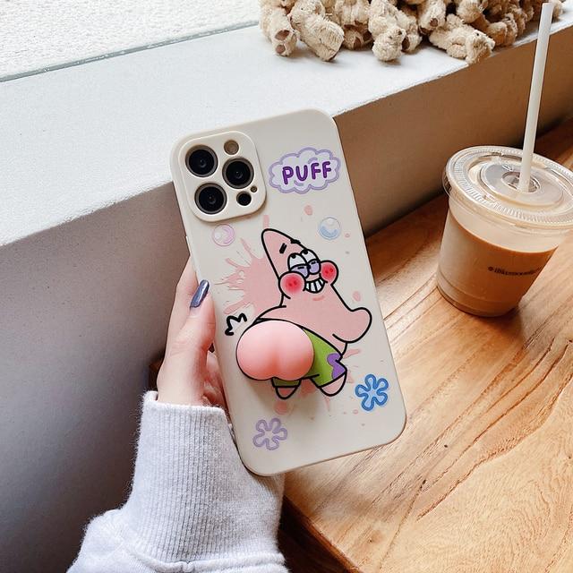 Leuke Zeester Butt Zachte Case Voor Iphone 12 Pro Max Xr 7 8 Plus Xs X Mooie Squeeze Speelgoed Reliever siliconen Cover Se 2020 11 Pro