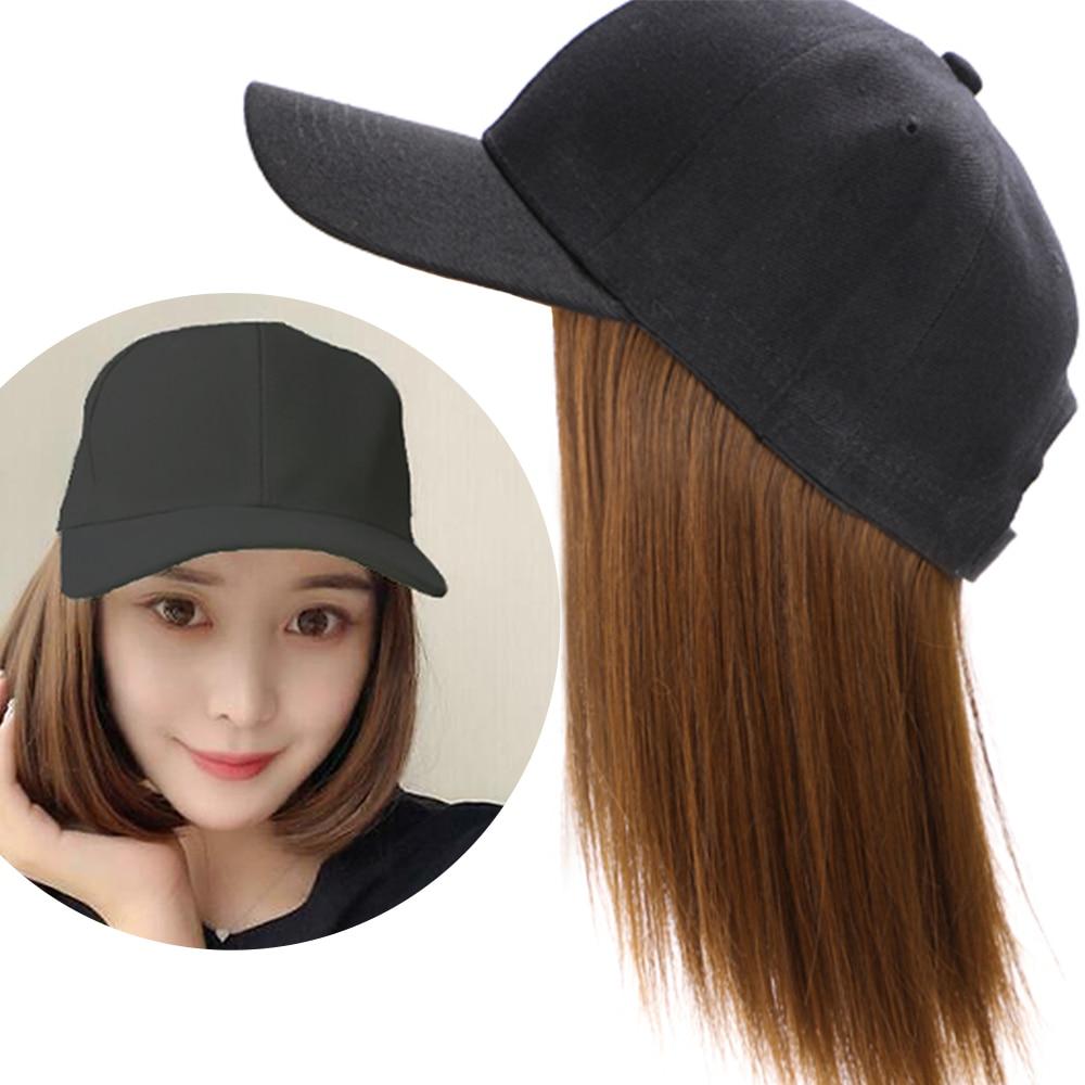 MODERN QUEEN Synthetic Wig Hat Baseball Cap With Short Straight Bob Wig For Women Female Heat Resistant Fiber Short Bob Wig
