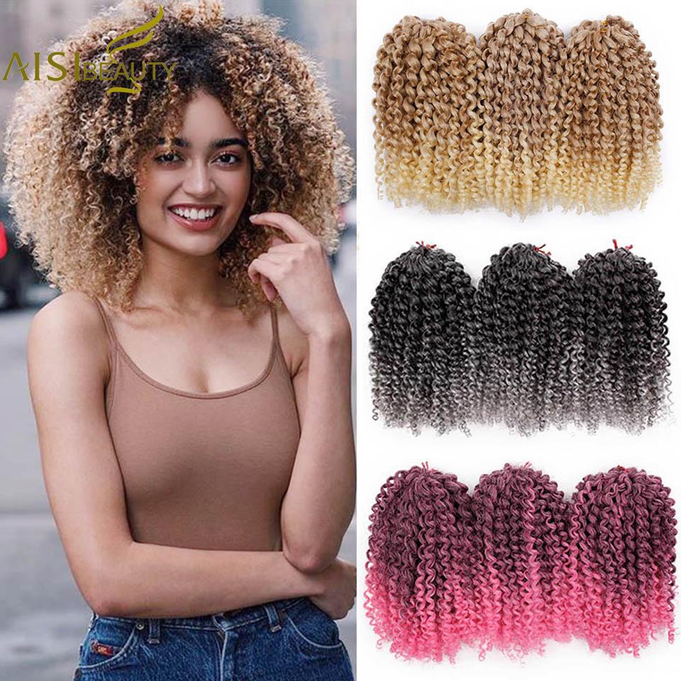 AISI BEAUTY 8inch 30g/pcs Marley Braids Ombre Crochet Braids Hair Synthetic Braiding Hair Extensions For Women Purple Black