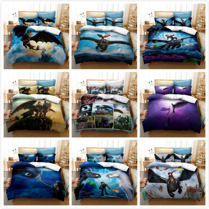Train Dragon 3D Bedding Set Dragon Ball Printed Duvet Cover Set Bedcloth with Pillowcase Bed Set Home Textiles