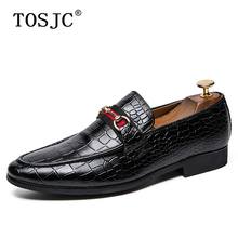 TOSJC New Mens Buckle Loafers Luxury Crocodile Pattern Pointed-toe Oxfords for Man Breathable Slip-on Formal Shoes Dress