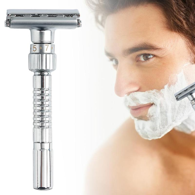 Hair Razor Blades Holder Adjustable Razors Double Edge Shaving Safety Razor Shaver Blades Zinc Alloy Hot New Razor Mens G0220