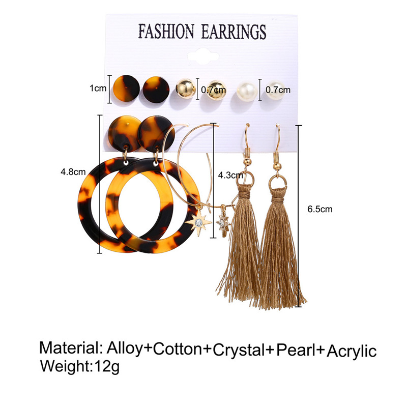 H43d0f11d23b7466582113d9bc25e7243O - IF ME Fashion Vintage Gold Pearl Round Circle Drop Earrings Set For Women Girl Large Acrylic Tortoise shell Dangle Ear Jewelry