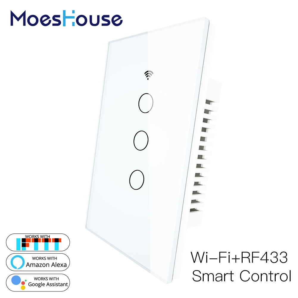 WiFi Smart Wall Light Switch Glass Panel RF433 Wireless Smart Life Tuya APP Remote Control Works With Alexa Google Home 3 Gang