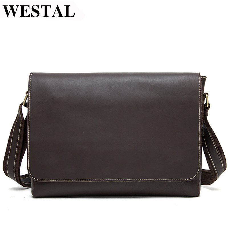 WESTAL Men Briefcases Men's Genuine Leather Laptop Bag Leather Briefcase Man Lawyer/office Bags For Men Totes Messenger Bag 1136