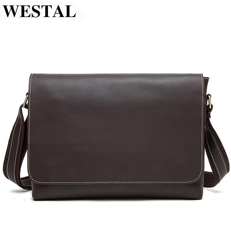 WESTAL Men Briefcases Men's Genuine Leather Laptop Bag Leather Briefcase Man Lawyer/office Bags For Men Totes Messenger Bag 1136
