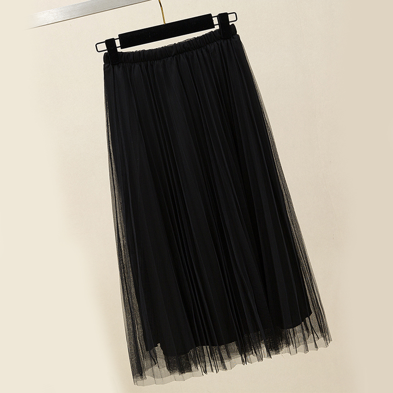 Zoki New 2020 Women Tulle Skirt Elastic High Waist Mesh Spring Summer Fashion Long Skirt A Line Black Girl Korean Pleated Faldas