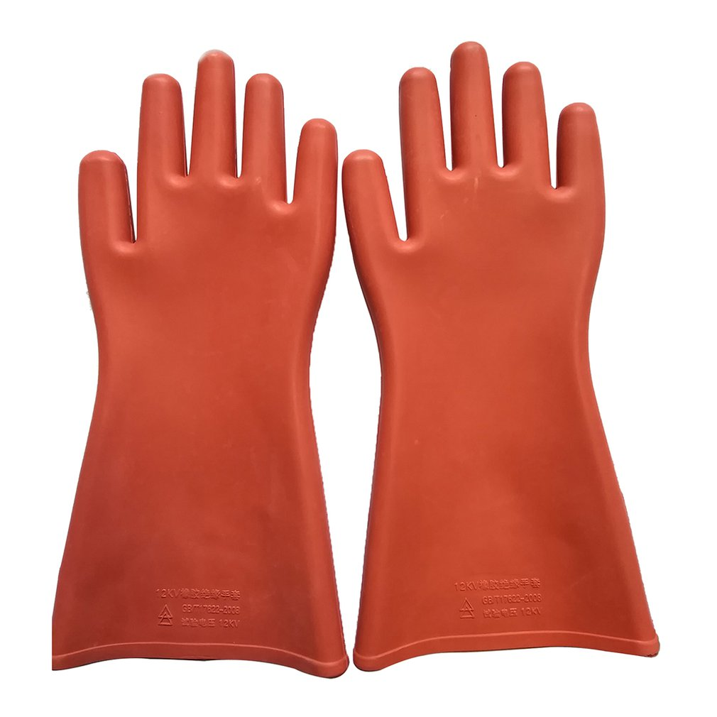 1 Pair Professional 12 Kv High Voltage Electrical Insulating Gloves Against Electricity Safety Rubber Gloves For Electrician