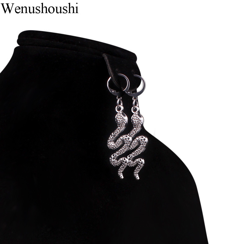 Antique Silver Color Snake Earrings Women Gothic Snake Charm Small Hoop Earrings Stainless Steel 12mm Hoop Circles Drop Ship Ok