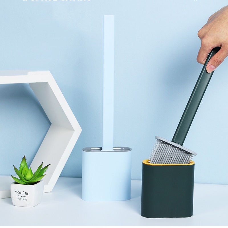 Silicone Flex Toilet Brush With Holder Wall-Mounted Floor-Standing Cleaning Brush Set Soft Rubber Long Handle Household Bathroom