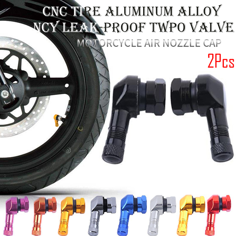 2pcs 90 Degree Angle Aluminum Alloy Valve Stem Motorcycle Wheel Tire Tubeless Valve Stems For Rim Wheel Parts CNC Motorcycle Rim