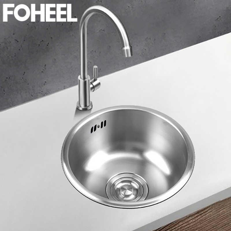 foheel sink round single bowl kitchen sink bar sinks above counter brushed sink kitchen stainless steel small sinks fks05