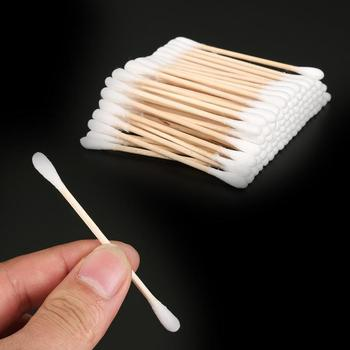 100 Pcs Double Head Cotton Swab Bamboo Cotton Swab Wood Sticks Disposable Buds Cotton For Beauty Makeup Nose Ears Cleaning