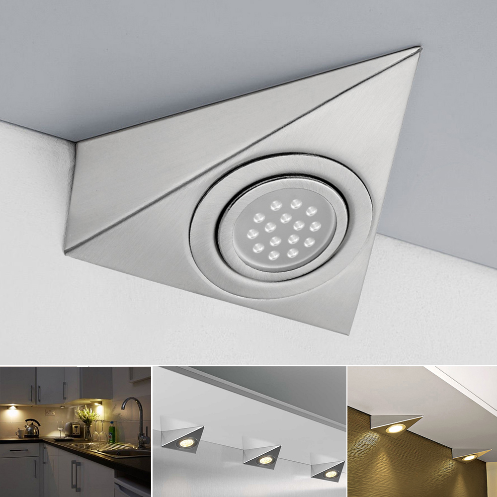 LED TRIANGLE LIGHT MAINS KITCHEN UNDER CABINET CUPBOARD COOL WHITE 30000 HOUR