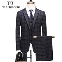 TIAN QIONG Brand 3 Pieces Men Wool Plaid Slim Fit Groom Wedding Suit Man High Quality Mens Dress Suits Business Formal Wear
