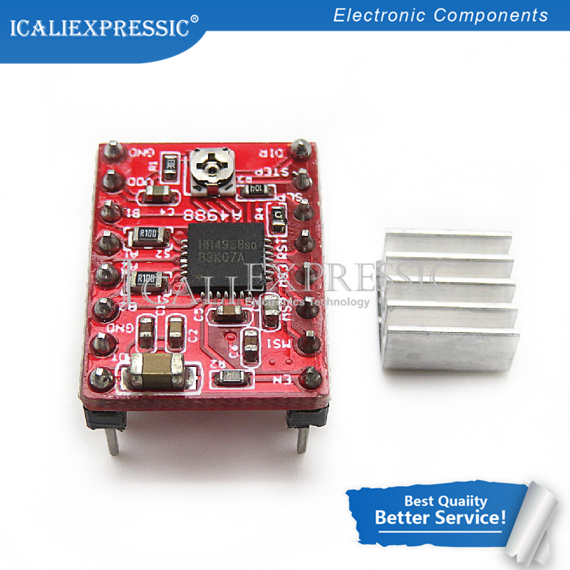 1 шт. A4988 StepStick шагового Драйвер + радиатор для Reprap Pololu 3D-принтеры красный M08 челнока L29K в наличии