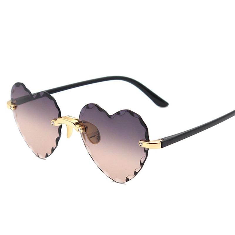Women Rimless Sunglasses Fashion Heart-shaped Sun Glasses for Wome Vintage Cute 90s Gradient Shades Eyeglasses  UV400 7