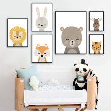 Elephant Lion Rabbit Fox Bear Tiger Deer Wall Art Canvas Painting Nordic Posters And Prints Pictures Baby Kids Room Decor