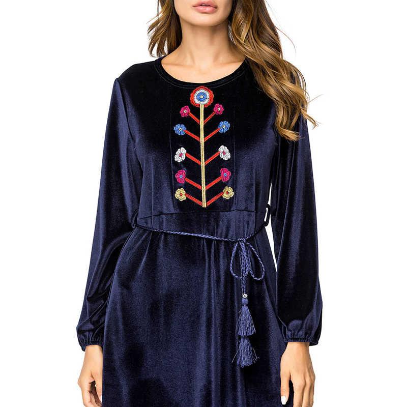 MISSJOY 2019 秋の女性イスラム教徒のドレス刺繍長袖 O ネックハイウエストイスラム服着物女性カジュアル