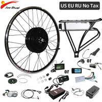 Kit de conversión de bicicleta eléctrica, de 36V, 48V, 250W, 350W y 500W, portador trasero de rueda delantera, batería, equipos bicicleta eléctrica, sin impuestos