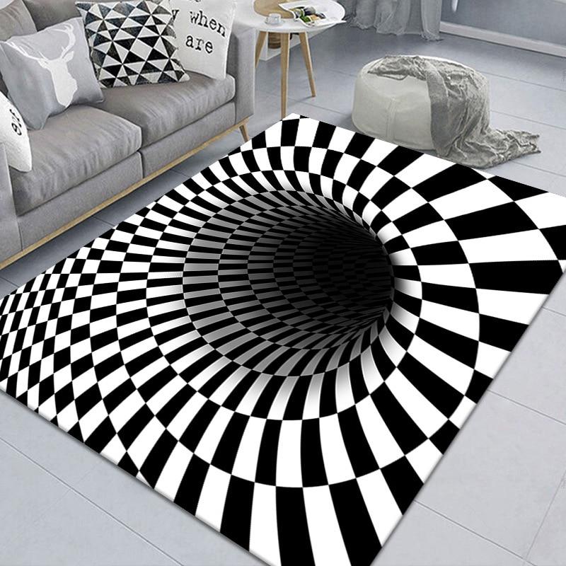 3d принт ковер для гостиной роскошный белый черный коврик пола