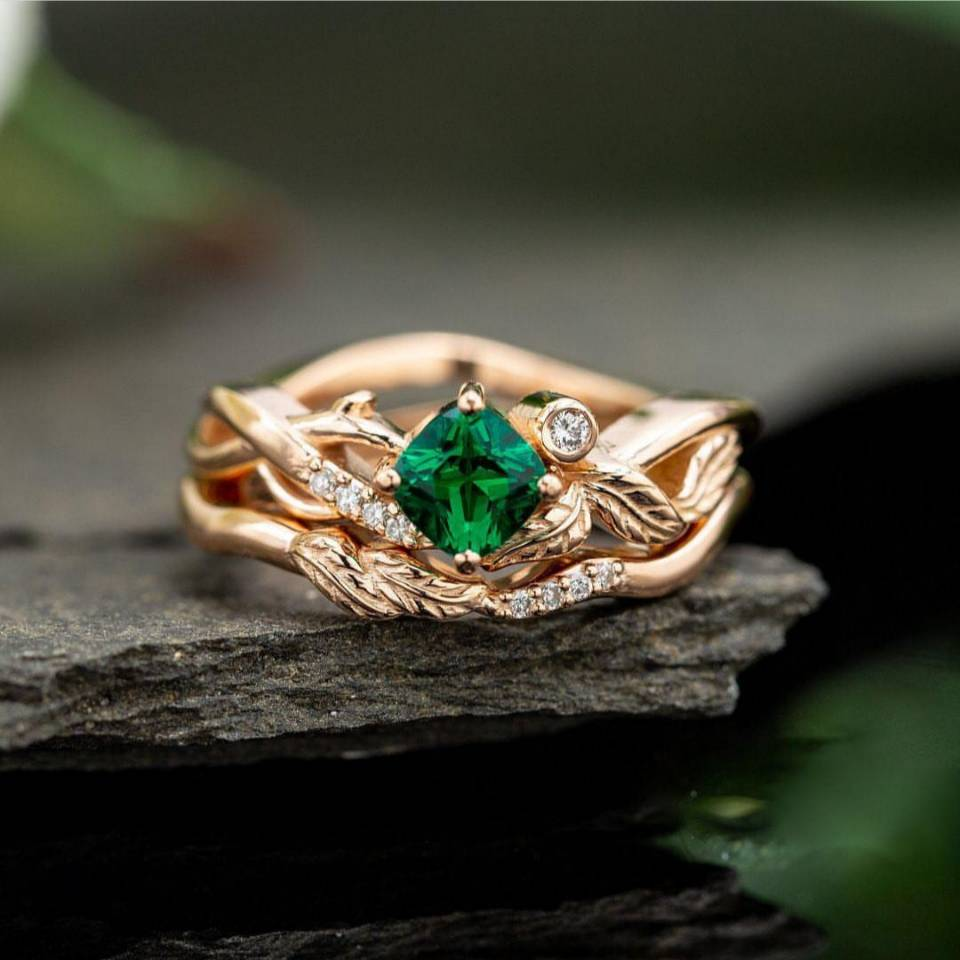 Huitan романтические нестандартные кольца с растениями с геометрическим зеленым кубическим цирконием, свежие листья, дизайнерские обручальн...