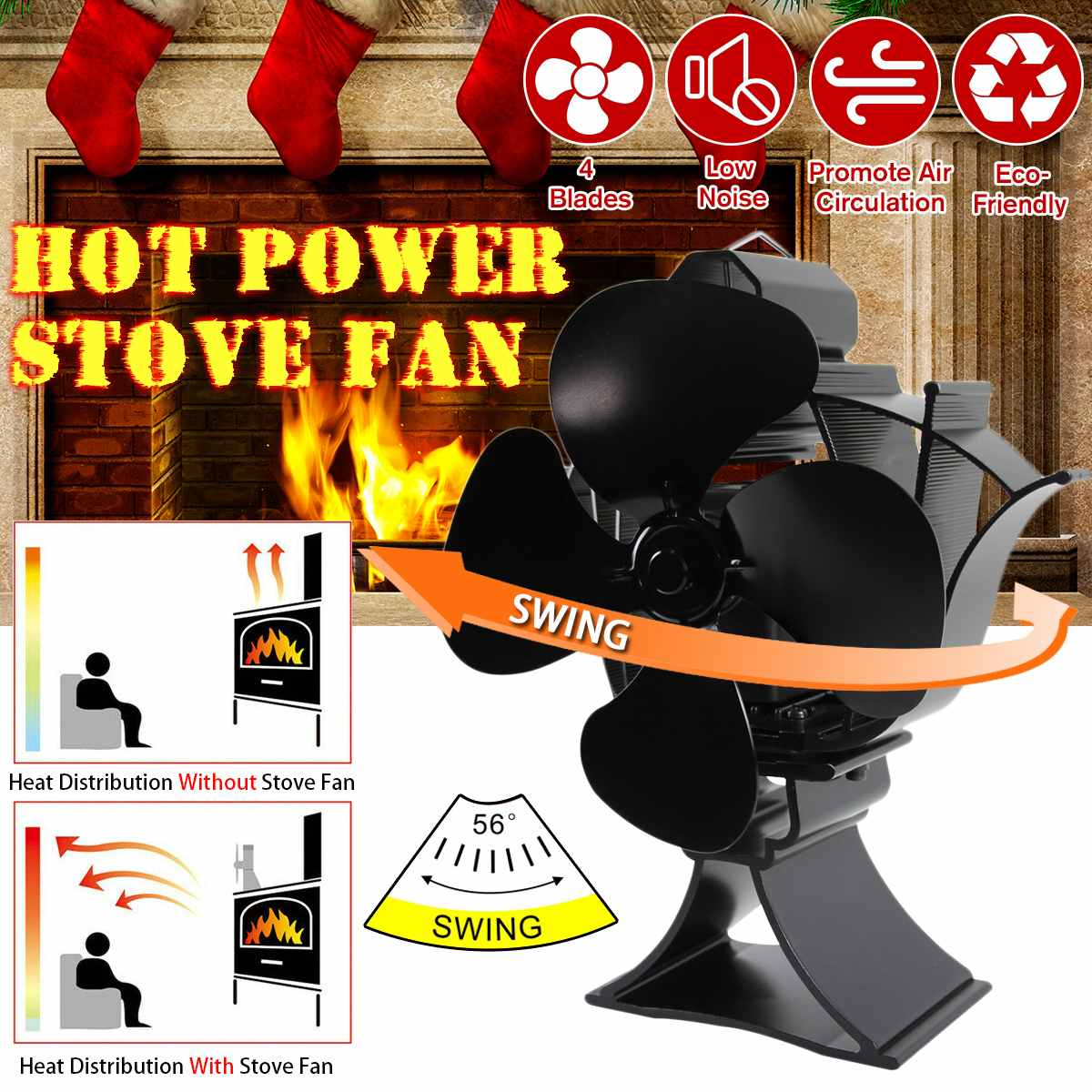 Black Swing Fireplace 4 Blade Heat Powered Stove Fan Log Wood Burner Eco Friendly Quiet Fan Home Efficient Heat Distribution