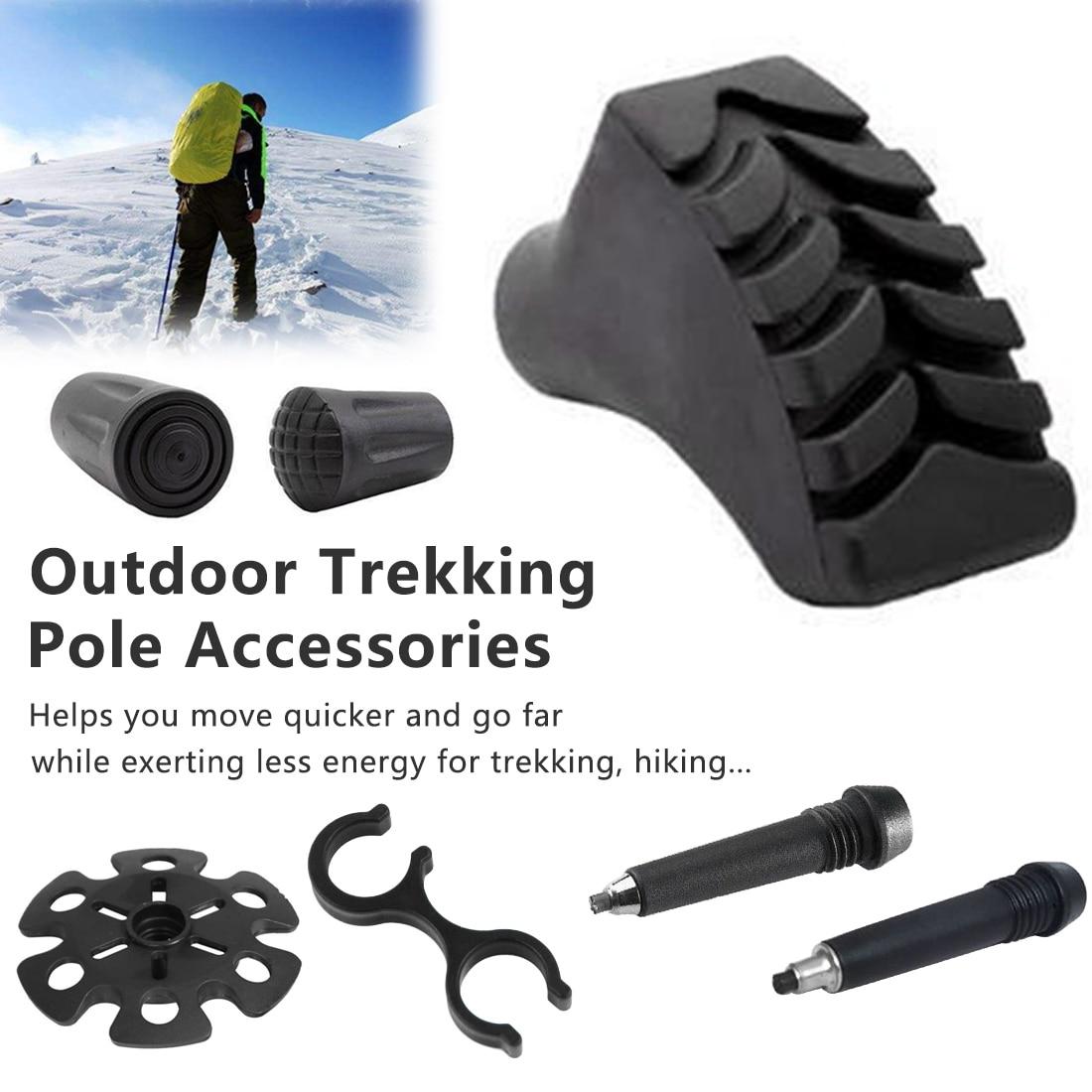 Pack of 5 Trekking Walking Stick Snowflake Basket Tip End Cap Hiking Pole Accessories