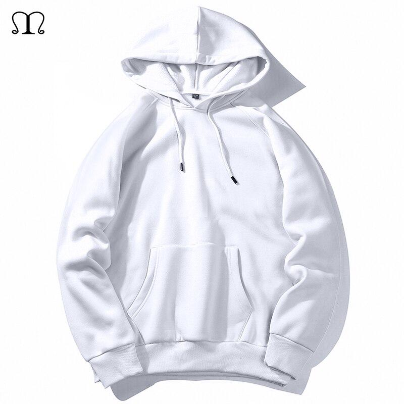 Мужская Флисовая Толстовка, белая однотонная толстовка с капюшоном, в стиле хип-хоп, уличная одежда, европейские размеры XXL, весна-осень 2020