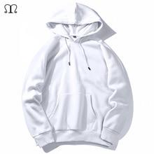 Warm Fleece Hoodies Men Sweatshirts 2020 New Spring Autumn Solid White Color Hip Hop Streetwear Hoody Mans Clothing EU SZIE XXL