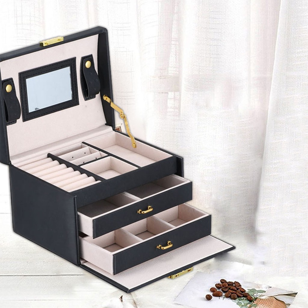 Jewelry Box Mirrored 3 layer Large Capacity Jewelry Casket Makeup Organizer Earring Holder Makeup Storage Gift