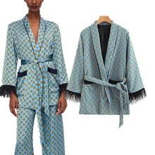 ZOGAA Fashion Jacket Women Loose Kimono Coat Bow Tie Sashes Pockets Tassel Decorate Outerwear Oversized Ladies Autumn Jackets brown fashion self tie design midi outerwear with side pockets
