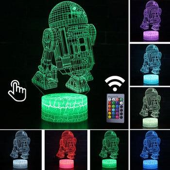 Star Wars Darth Vader Anime Figure Acrylic 3D Illusion LED Lamp Colourful NightLight Death Star Mask Yoda Model Toys Child Gift 35