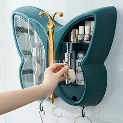 Настенный органайзер для косметики в форме бабочки, без перфорации, контейнер для хранения ювелирных изделий и косметики, Женская полка для...