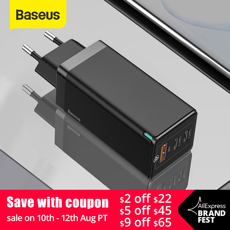 Baseus 65W GaN Charger Quick Charge 4.0 3.0 Type C PD USB Charger with QC 4.0 3.0 Portable Fast Charger ForiP ForXiaomi Laptop(China)