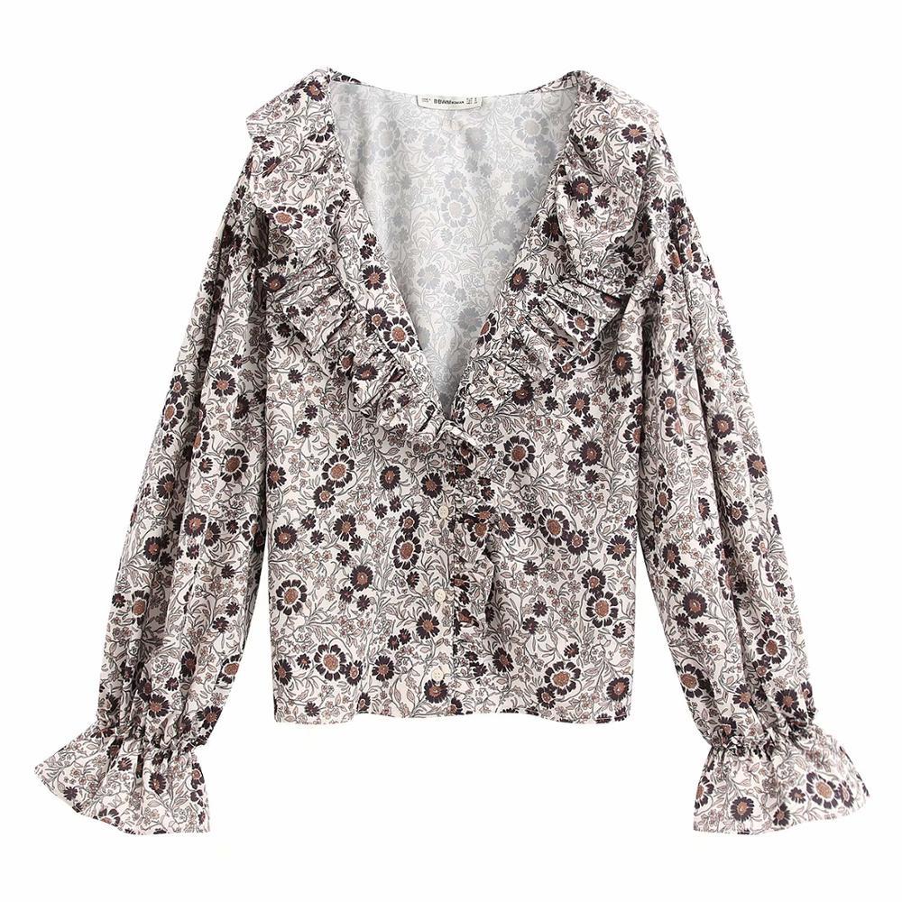 New Women Elegant V Neck Printing Casual Smock Blouse Ladies Agaric Lace Chic Kimono Pleated Ruffles Feminina Shirts Tops LS6376