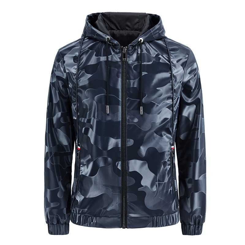 Leather Jacket 2020 Spring and Autumn New Men's Camouflage Hooded Zipper Pocket Slim Casual Men's Leather Jacket